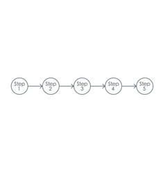 infographic five step timeline arrows and circles vector image
