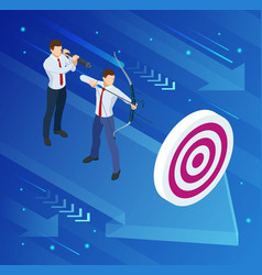 Isometric businessman shooting a bow and arrow vector