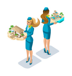 isometry of a stewardess girl with leisure activ vector image