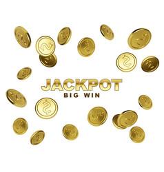 jackpot casino winner big win banner with falling vector image