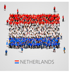 large group of people in the netherlands flag vector image