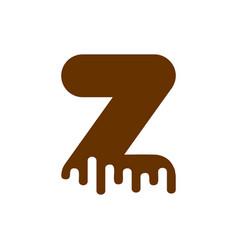 letter z chocolate font sweetness alphabet liquid vector image