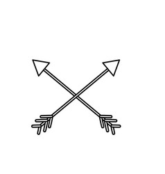 line arrows in cross with pointer design vector image