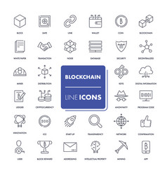 Line icons set blockchain vector