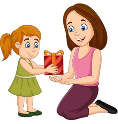 Little girl giving a gift box to her mother vector