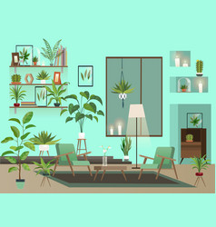 living room at night urban interior with indoor vector image
