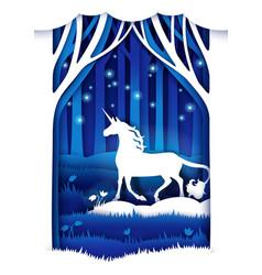 magic unicorn in paper art vector image