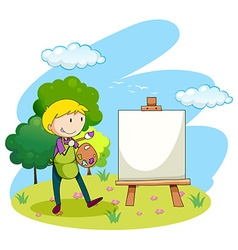 Man painting picture on canvas vector