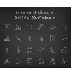 Medicine icon set drawn in chalk vector image