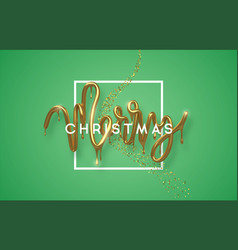 merry christmas gold 3d melted drip type card vector image