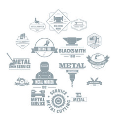 Metal working logo icons set simple style vector