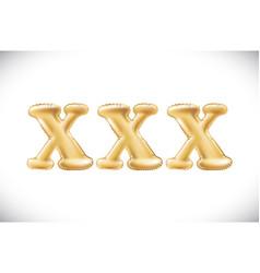 Metallic gold xxx balloons golden letter new year vector