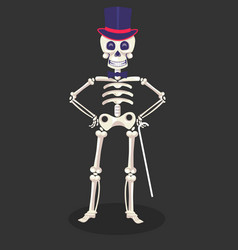 Mexican skeleton in tall hat with cane dia de los vector