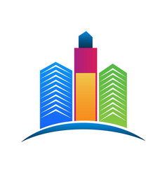 modern city building real estate logo vector image