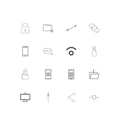 network and database linear thin icons set vector image