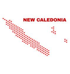 new caledonia islands map - mosaic of heart hearts vector image