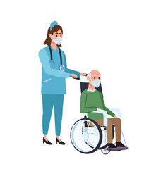nurse with old man in wheelchair vector image
