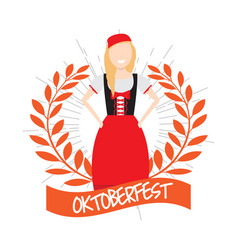 oktoberfest label with a traditional character vector image