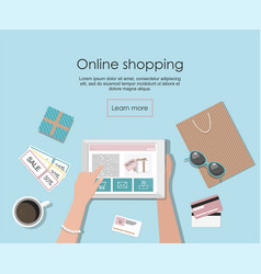 online shopping with digital tablet vector image