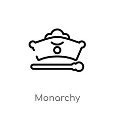 Outline monarchy icon isolated black simple line vector