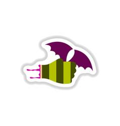 Paper sticker on background of hand bat vector