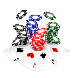 Poker chips and cards vector
