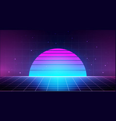 Retro background with laser grid abstract vector