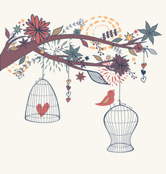 romantic with bird out cages branch and vector image