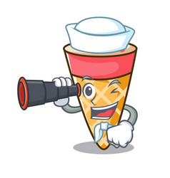 sailor with binocular ice cream tone mascot vector image