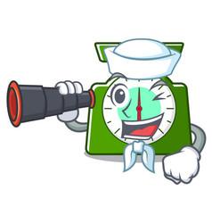 Sailor with binocular kitchen scale mascot cartoon vector