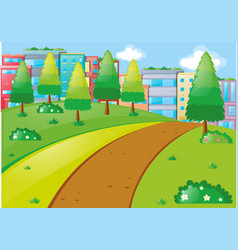 scene with tall buildings and park vector image