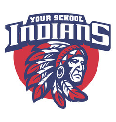 School mascot of indian chief head vector