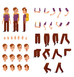 Schoolboy creation set - little boy with brown vector