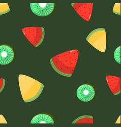 seamless pattern melon kiwi and watermelon vector image