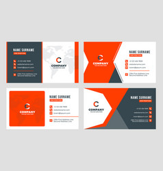 set 4 business card templates flat design vector image