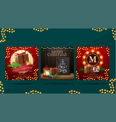 set christmas greeting square postcards with vector image
