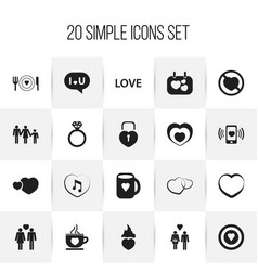 set of 20 editable passion icons includes symbols vector image