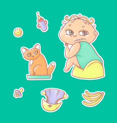 Set of color stickers child vector