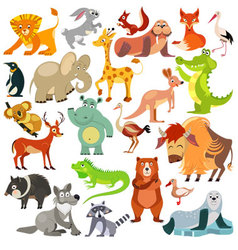 Set of funny animals birds and reptiles vector