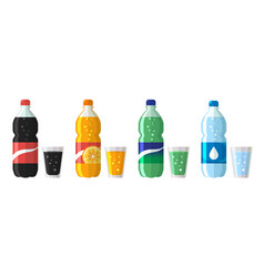 set plastic bottle water and sweet soda with vector image