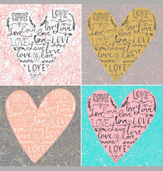 set valentines card with line heart and love vector image
