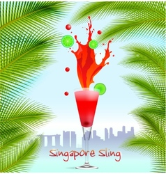 Singapore Sling background vector image