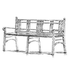 sketch old bench in urban park vector image