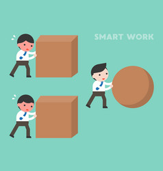 Smart work concept businessman rolling sphere vector