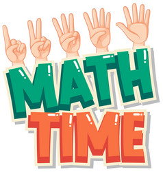 Sticker template design for math time with vector