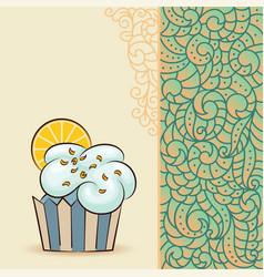 sweet cupcake with orange slice vector image