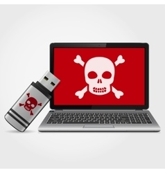 USB flash drive with laptop infected malware vector
