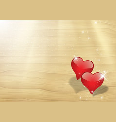 valentines card with two hearts vector image