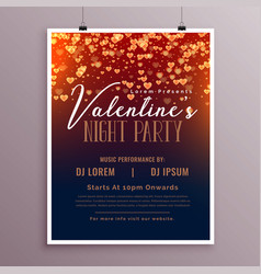 valentines day flyer template with falling hearts vector image
