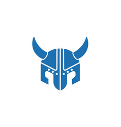 Viking helmet flat icon vector